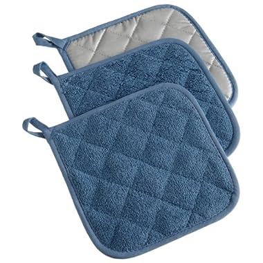 DII 100% Cotton, Machine Washable, Heat Resistant, Everyday Kitchen Basic, Terry Potholder, 7 x 7 , Set of 3, Blue