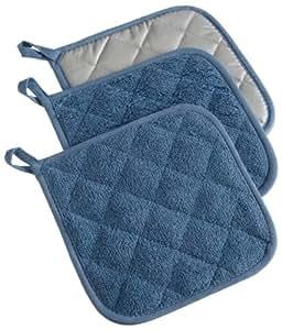 "DII 100% Cotton, Machine Washable, Heat Resistant, Everyday Kitchen Basic, Terry Pot Holder, 7 x 7"", Set of 3, Blue"