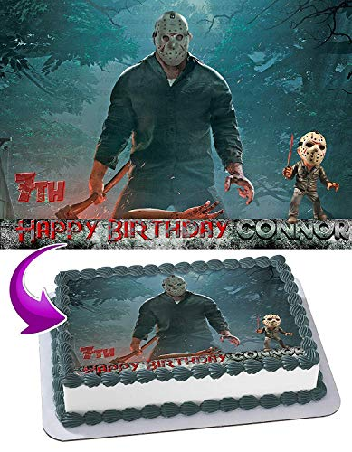 Jason Voorhees Edible Cake Image Topper Personalized Birthday 1/2 Sheet Custom Sheet Party Birthday Sugar Frosting Transfer Fondant Image ~ Best Quality Edible Image for cake ()