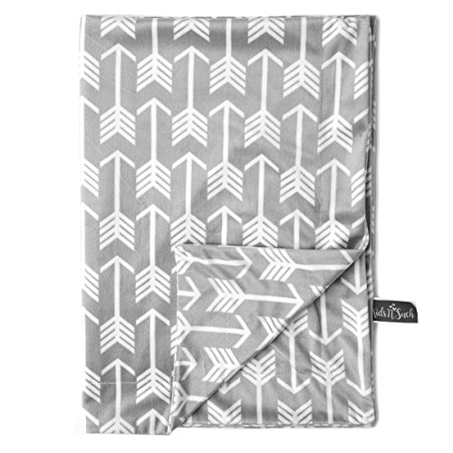 Kids N Such Minky Baby Blanket 30 x 40 - Grey Arrow - Soft Swaddle Blanket for Newborns and Toddlers - Best for Boys Or Girls Crib Bedding, Nursery, and Security - Plush Double Layer Fleece Fabric