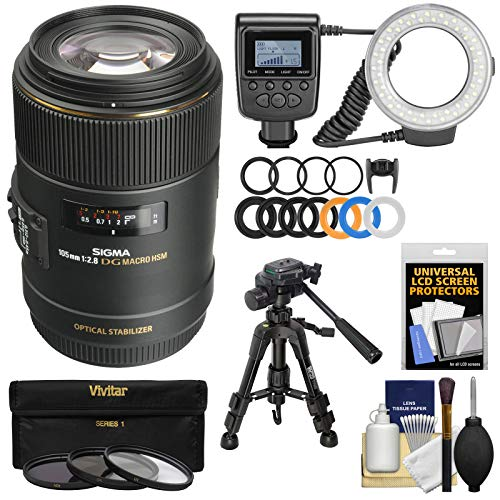 Sigma 105mm f/2.8 EX DG OS HSM Macro Lens with Ring Light + Macro Tripod + 3 UV/CPL/ND8 Filters + Kit for Canon EOS DSLR Cameras