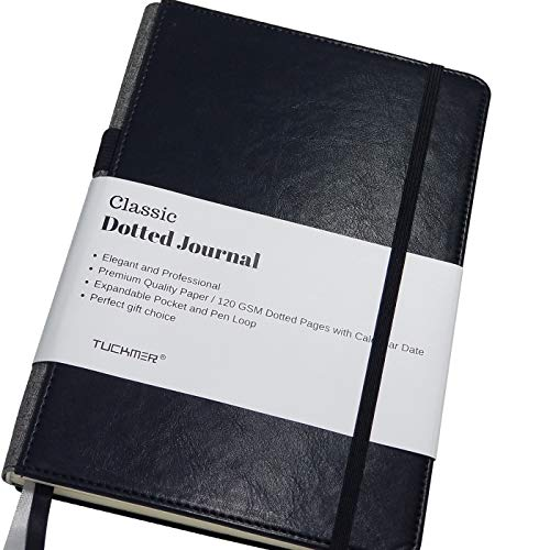 Notebook with Pen Holder Loop - Meeting Notebook - Dotted Grid Leather Bound Journal - Black - Great for Writing, Journaling & Sketching - Bullet Journals to Write in for - Meeting Journal