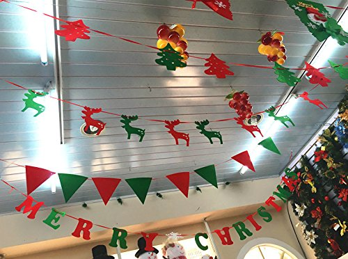 Moose garlands paper hanging banners with ribbon for Christmas Trees Ornament Party Birthday Home Decor (Colored (Moose Garland)