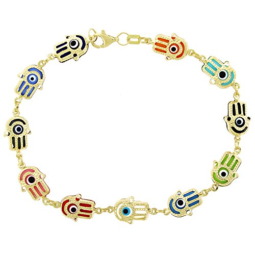 14k Yellow Gold Womens 8mm Multi-Color Hamsa Evil Eye Hand Good Luck Charm Bracelet Chain 7.5'' by In Style Designz
