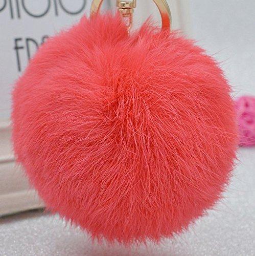 Minigianni 3.5 Inches Watermelon Red Big Fluffy Rabbit Fur Pom Pom Charm Ball with Key Ring Chain Keychain - Pendant for Handbag Wallet Purse Car Key(Watermelon Red)