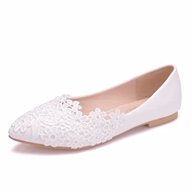 ca45dae5fb5 Women Flats Ballets Shoes White Lace Wedding Flats Pointed Toe Plus Size Shoes  Wedding Party Dress