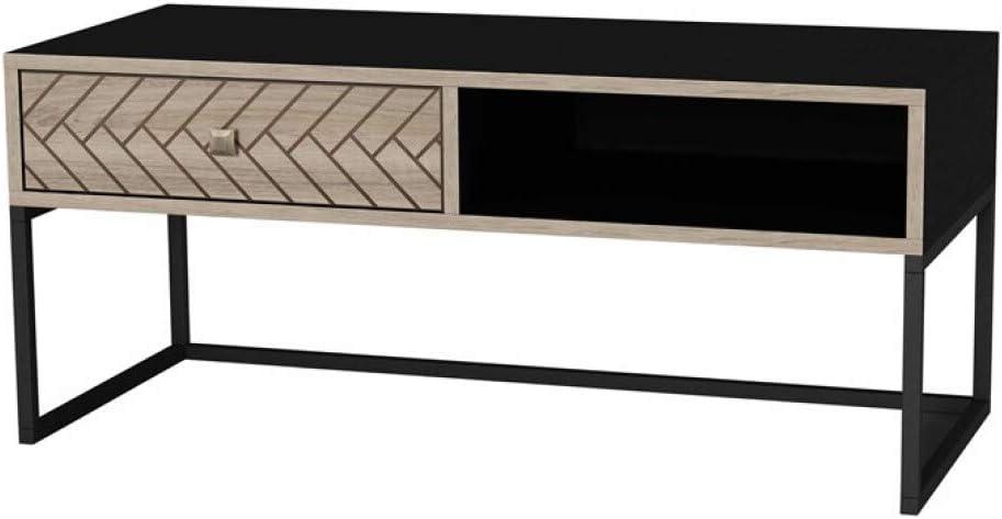 ZONS Table//Console Basse de Salon Linda Motif et Empi/ètement en Bois Noir