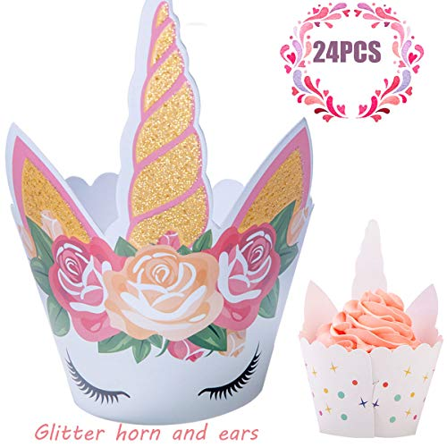 Funnlot Unicorn Cupcake Toppers and Wrappers Party Cake Decorations with Glittery Unicorn Horn and Ears for Birthday Party Baby Shower Party Wedding and Unicorn Themed Party (24Pcs) -