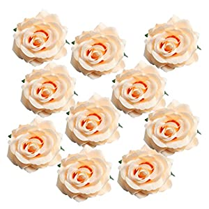 MonkeyJack 10 Pieces DIY Artificial Rose Flower Heads Silk Decorative Flower Hotel Background Wall Decor Road Led Wedding Flower Bouquet 95