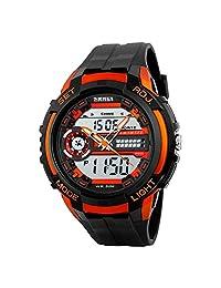 Lintimes Men's Analog Digital Multifunctional Sport Dual Time Wrist Watch Orange