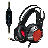 Ajazz AX361 Stereo Gaming Headset, 7.1 Channel USB Gaming Headphone, Noise Cancelling Over Ear Headphone with Mic, LED Light Soft Memory Earmuffs, Black
