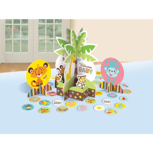 [Adorable Fisher Price  Baby Shower Party Jungle Animals Assorted Table Decorating Kit Decoration, Paper, 12