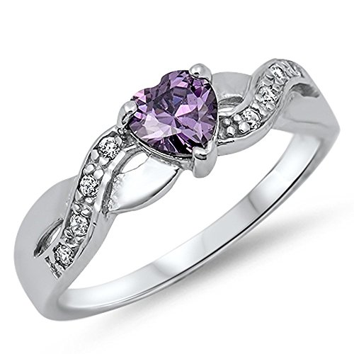 Heart Simulated Amethyst Infinity Knot Promise Ring New .925 Sterling Silver Size 7