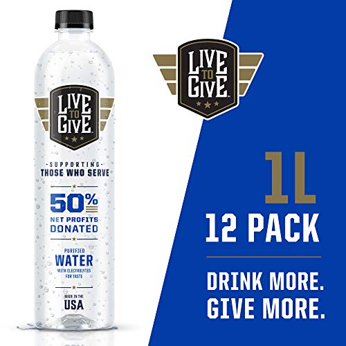Live to Give 1L (12 pack) Premium Purified Bottled Water pH Balanced with Electrolytes For Taste, 50% of Net Profits Donated to Military & First Responder Families in Need