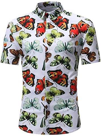 Qirong Beach Style Pine Pattern Hawaiian Mens Short Sleeve Print Shirts 3XL