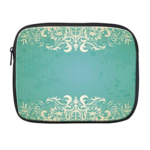 (Vintage Compatible with Nice iPad Bag,Old Fashioned Frame with Grungy Ancient Floral Curlicues Baroque Revival Motifs Decorative for Office,One Size)