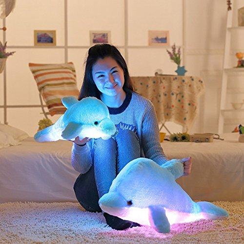(Dreamyth Plush Dolphin LED Pillow Light Soft Cushion Glow 32cm Stuffed Animal (Blue))