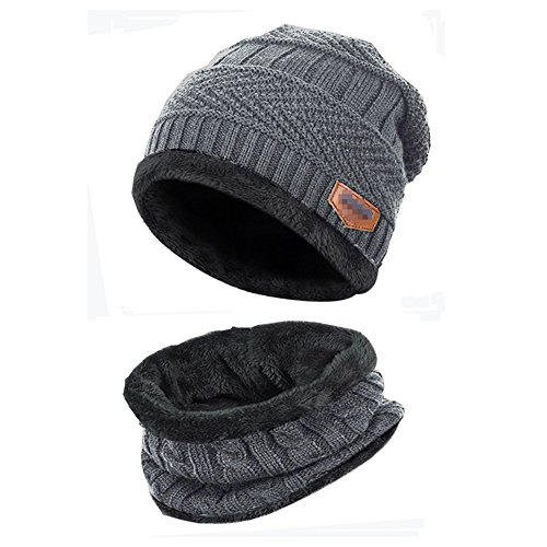 - Kata Beanie Hat Thick Knit Hat Warm Fleece Lined Scarf Set Warm Thick Winter Hat For Men & Women (Grey)