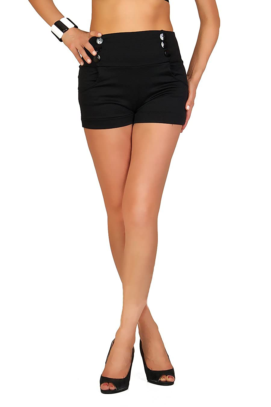 FUTURO FASHION Summer High Waisted Sophisticated Trendy Shorts with Pockets and Buttons Size 8-18 UK PA08