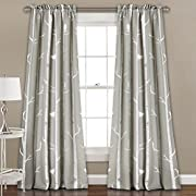 Lush Decor 16T000563 Bird on the Tree Room Darkening Window Panel Curtain Set, 84  x 52 , Gray