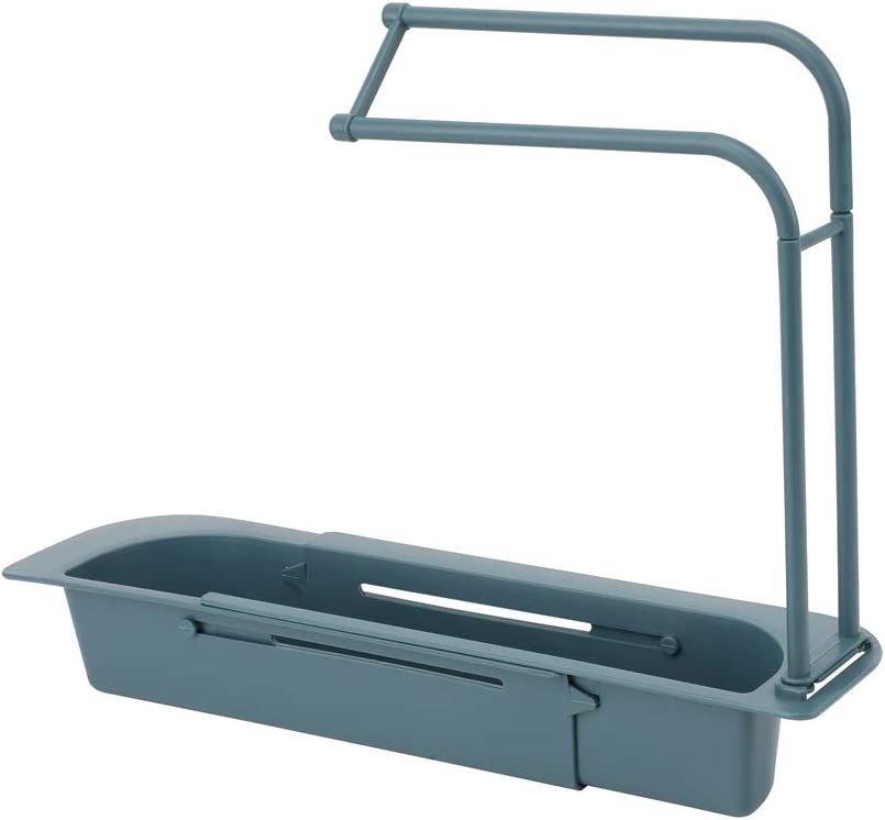 Gray Filbunnto Telescopic Sink Holder Rack Expandable Sink Basket Kitchen Sink Organizer Tray for Sponges Soaps Scrubbers