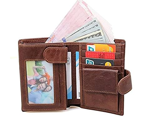 RFID blocking coffee color Trifold leather men wallet