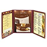 LEESONS 30pcs Menu Cover 8.5x14 Triple Fold 6 view double stitch Restaurant Cafe