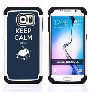 /Skull Market/ - Kepp Calm and Sleeping For Samsung Galaxy S6 G9200 - 3in1 h????brido prueba de choques de impacto resistente goma Combo pesada cubierta de la caja protec -