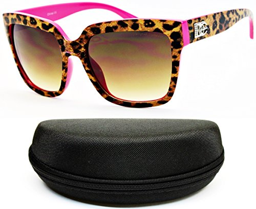 D5010-cc Designer Eyewear Rectangular Sunglasses (O1901B LeoPard/Hot - Eye Print Sunglasses Leopard Cat