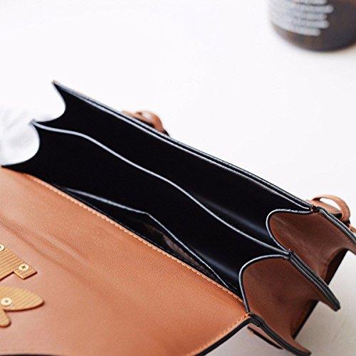 PU Daily Shoulder Bee Vintage Brown Use Bag Cute Crossbody Small Formal Leather Square Handbag Pearl Women Bag UTnwfqxdU6