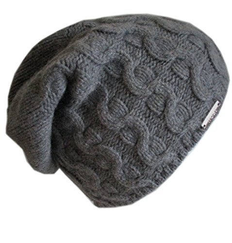 Frost Hats Luxurious Cashmere Slouchy Cable Beanie CSH-735 (Medium gray)