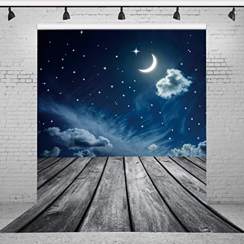 Riyidecor Starry Sky Backdrop Wooden Board Photography Background Dark Blue and Gray 5x7ft Decoration Celebration Props Party Photo Shoot Backdrop Vinyl Cloth