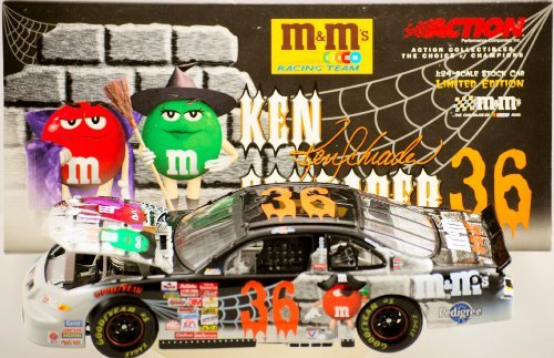 NASCAR Action Ken Schrader #36 - 2001 Pontiac Grand Prix - M&M's Racing Team / Halloween Paint - 1 of 4,348 - 1:24 Scale - Die Cast - Limited Edition - Collectible