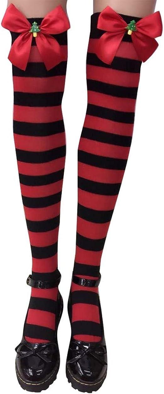 SUCES medias para mujer y niña, disfraz de animadora, medias de rayas de algodón, calcetines de deporte, medias de Navidad, calcetines sin soporte con lazo a Talla única: Amazon.es: Ropa y accesorios