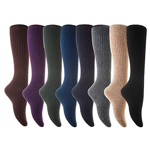 Lian LifeStyle Women's 4 Pairs Knee High Knitted Wool Socks Stripped FS05 Size 7-9, Assorted, One Size