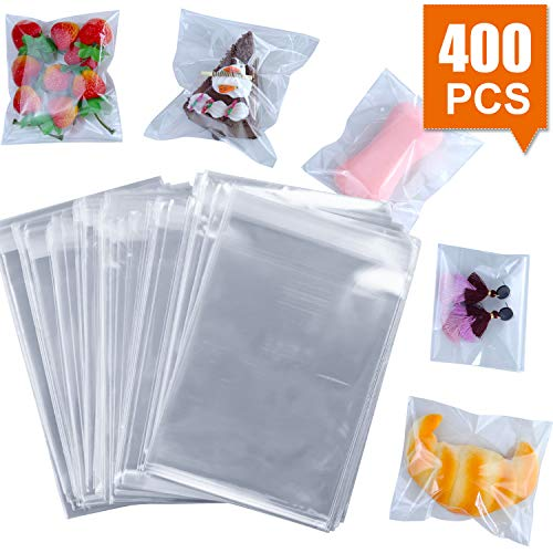 "400 Pcs 4""x4.73"" Clear Resealable Cello/Cellophane Bags Good ,AROIC,for Bakery, Candle, Soap, Cookie Poly Bags"