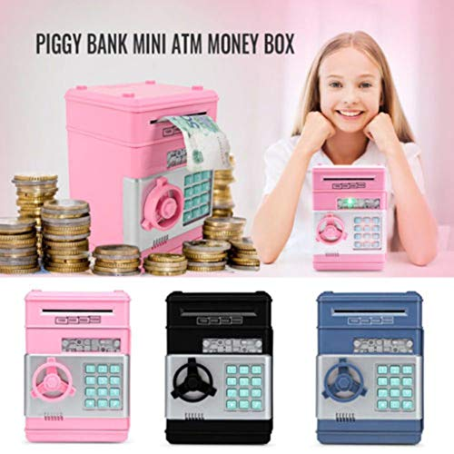 Fine Cartoon Piggy Bank,Electronic Password Piggy Bank Mini ATM Electronic Money Saving Banknotes, Electronic Password Piggy Bank (Black)