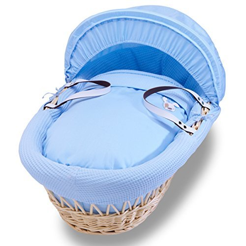 Izziwotnot Gift Blue on Natural Wicker Moses Basket by Izziwotnot