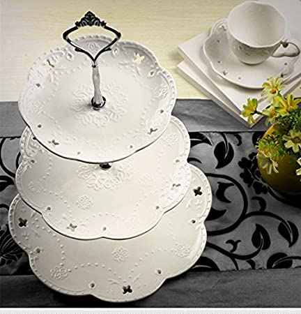 Europe Hi Tea 3 Layer Plate Set Ceramic Fruit Cake Stand Pan Afternoon Tea High- & Europe Hi Tea 3 Layer Plate Set Ceramic Fruit Cake Stand Pan ...