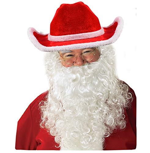 Funny Santa Costumes (Funny Party Hats Santa Hats with Beard - Cowboy Santa Hat with Beard - Santa Beard - Santa)