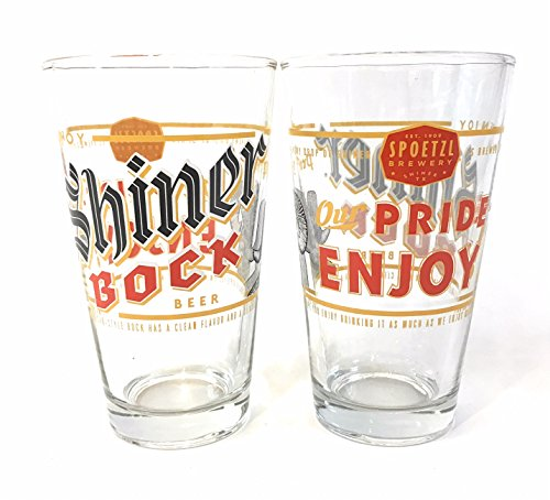 Spoetzl Brewery - Shiner Bock - 16 Ounce Pint Glass - Set of 2