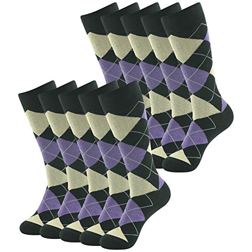 - Hiking Golf Crew Dress Socks, SUTTOS Mens Womens Unisex Adult Crazy Wonder Funky Colorful Purple Black Argyle Nordic Striped Art Patterned Casual Sock Wedding Groomsmen Deal Socks,10 Pairs