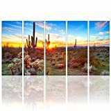 "Sea Charm - Amazing Landscape Painting of North American Sonoran Desert at Sunset Botanical Cactus Picture Print on Canvas for Living Room Decoration Ready to Hang Each Piece 12""x32"""