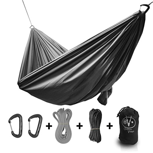 Outdoor Vitals Ultralight Hammock Under 1 lb with Suspension Included, Whoopie Sling Suspension, Tree Straps and Carry Bag (Charcoal, Single) ()