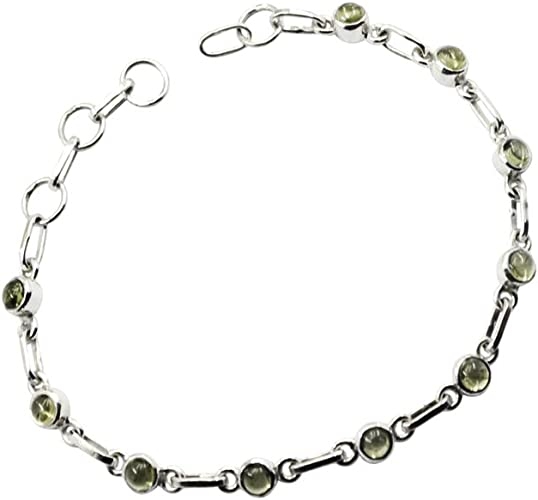 with Light Green Clear Cubic Zirconia Stones In Between Simulated Peridot Stones Vintage Bracelet Bracelet 925 Silver August Birthstone