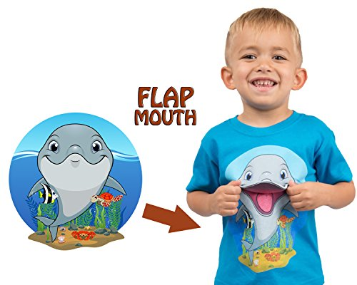 Dolphins T-shirt Toddler (Tees Jungle Kids - Marine Life Cute Dolphin Interactive Flap Mouth T-Shirt (4T, Dolphin))