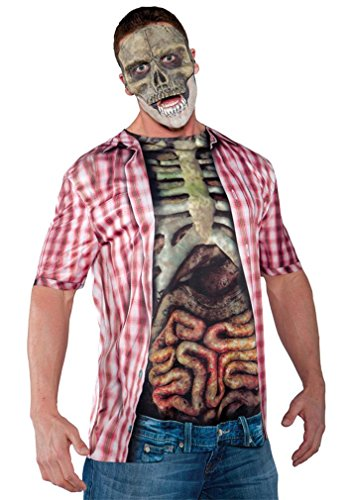 Underwraps Costumes Men's Skeleton Costume - Photo Real Shirt, Blue/Multi, One Size (Undead Nightmare Costumes)