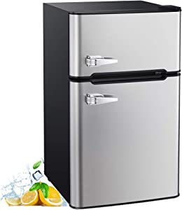 AGLUCKY 3.2 Cu.ft Compact Refrigerator Double Door Mini Fridge with Top Door and Removable Glass Shelves, Beverage and Food Storage Cooler for Office, Dormitory, Home or Apartment (Stainless Steel)