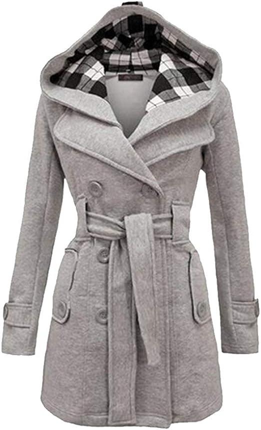 KINLOU damski płaszcz trencz z kapturem – płaszcz zimowy parka stylowa kurtka zimowa ciepła parka ciepła kurtka przejściowa: Odzież