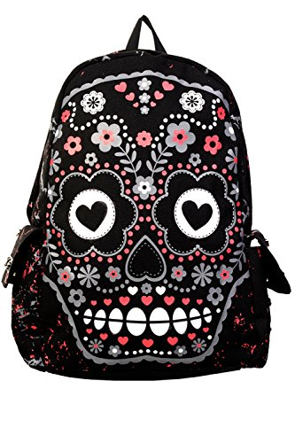Art Backpack featuring A Hearts and Flowers Sugar Skull Design from Banned